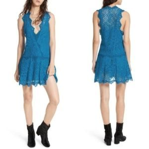 NWT Free People Blue Lace Heart in Two Lace Dress